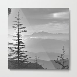Rainbow clouds at the mountains at sunrise. BW Metal Print