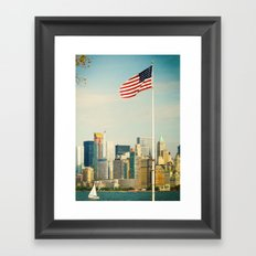 The flag and the city. Ellis Island, New York. Framed Art Print