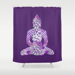 Buddha Vintage Floral Pattern Purple Shower Curtain