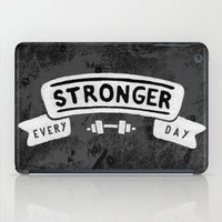 crossfit iPad Cases featuring Stronger Every Day (dumbbell, black & white) by Lionheart Art