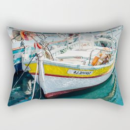Boats in the Harbor   Travel Photography France   Colorful Fine Art Photo   Rectangular Pillow