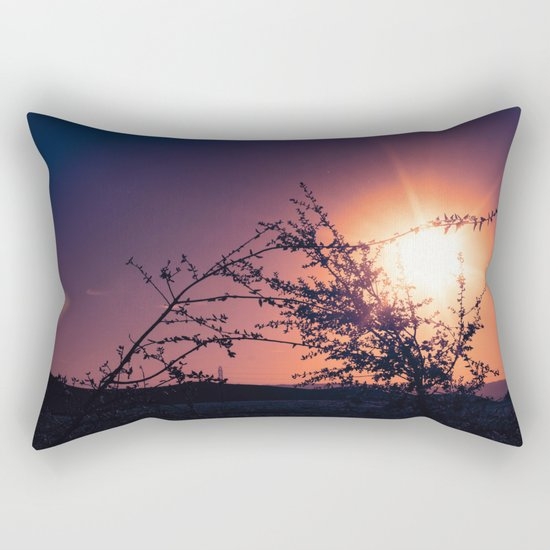Catching the Moment (Coral Orange Sunset, Dark Violet sky) Rectangular Pillow