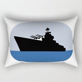 World War Two Battleship Destroyer Oval Retro Rectangular Pillow
