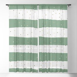Simple Christmas seamless pattern Golden Confetti on Green and White Stripes Background Sheer Curtain