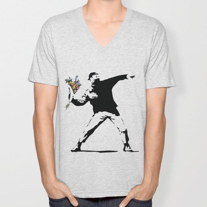 Banksy Flower Thrower Unisex V-Neck
