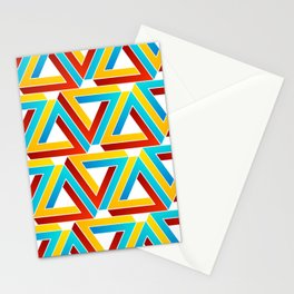 Colorful Penrose triangles- optical illusion backdrop Stationery Cards