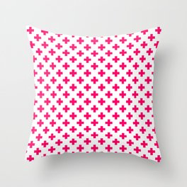 Hot Neon Pink Crosses on White Throw Pillow