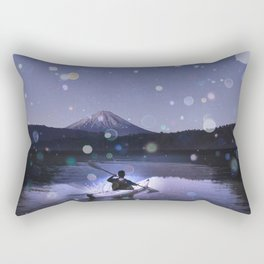 Canoe at Mount Fuji Rectangular Pillow