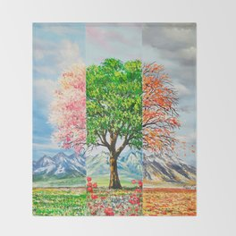 Three moods in nature Throw Blanket