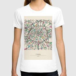 Colorful City Maps: Paris, France T-shirt