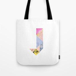 Collaged Tangram Alphabet - J Tote Bag