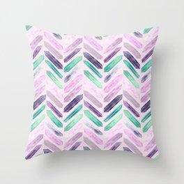 Love More Crystals Collection in Purple Chevron - Amethyst, Rose Quartz, Emerald Calcite, Rainbow Throw Pillow