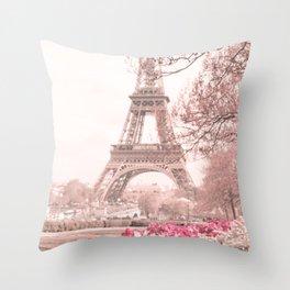 Paris Nursery, White, Eiffel Tower Throw Pillow