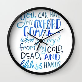 My Beloved Oxford Comma - Blue Lettering Wall Clock
