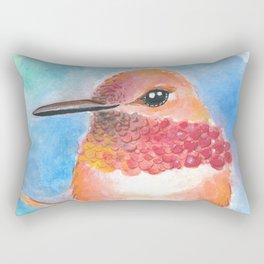Lady Hummingbird Watercolor Art Rectangular Pillow