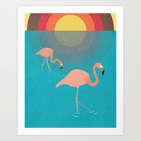 flamingos Art Prints featuring Flamingos by Simon Alenius