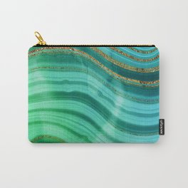 Ocean Blue And Green Mermaid Glamour Marble Carry-All Pouch