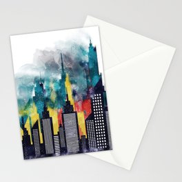 New York City Skyscrapers In Watercolor Art, Travel Digital Download, New York Poster, Wall Art Home Stationery Cards