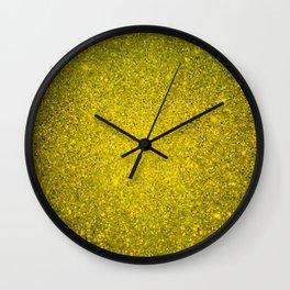 Golden Yellow Sparkling Jewels Pattern Wall Clock