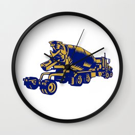 Cement Truck Rear Woodcut Wall Clock