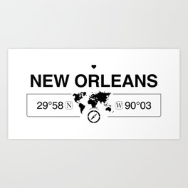 New OrleansLouisiana Map GPS Coordinates Artwork Art Print