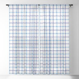 Classic Blue & White Large Tattersall Check Pattern Sheer Curtain