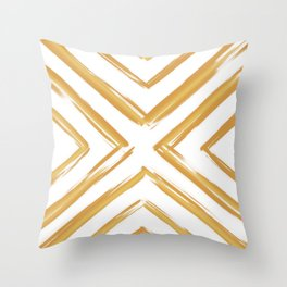 Minimalistic Gold Paint Brush Triangle Diamond Pattern Throw Pillow