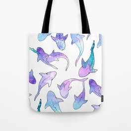 Galaxy Shark Print Tote Bag