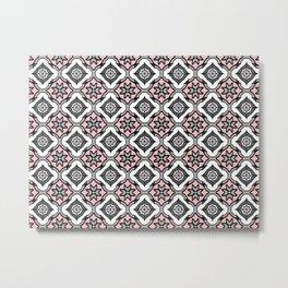Pink Grey Pattern Metal Print