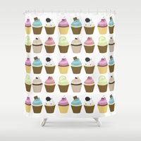 cupcakes Shower Curtains featuring Cupcakes by heartlocked