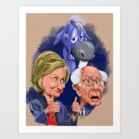 Bernie and Hillary 2016 Art Print