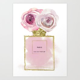 Pink & Gold Floral Fashion Perfume Bottle Art Print