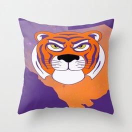 Clemson South Carolina State Tiger Watercolor Print Throw Pillow