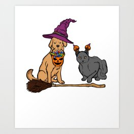 Cute Dog & Cat with Witch Broom Halloween Art Print