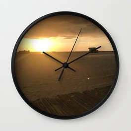 Boardwalk Beach Sunset Wall Clock