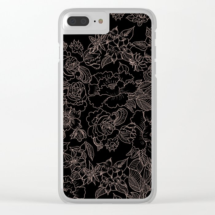 Pink coral tan black floral illustration pattern Clear iPhone Case