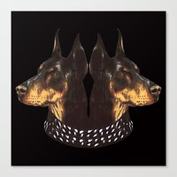givenchy Canvas Prints featuring 2 Dogs Givenchy by cvrcak