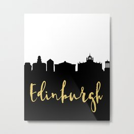 EDINBURGH SCOTLAND DESIGNER SILHOUETTE SKYLINE ART Metal Print