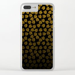 Gold Metallic Foil Photo-Effect Monstera Giant Tropical Leaves Faded on Solid Black Clear iPhone Case