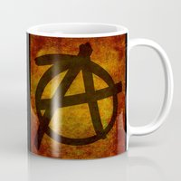 anarchy Mugs featuring Distressed Anarchy by Bruce Stanfield
