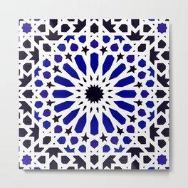 N8 - Epic Original Blue Moroccan Geometric Artwork. Metal Print