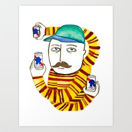 Stripes and Pabst Art Print