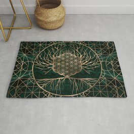 Flower of Life in Tree of life Malachite and Gold Rug