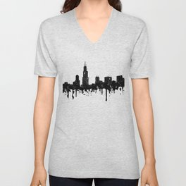 Watercolor Chicago Skyline Unisex V-Neck