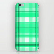 Shades of Light Green and Gray Plaid iPhone Skin