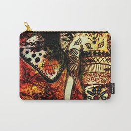 Patterned Sketched Elephant Carry-All Pouch