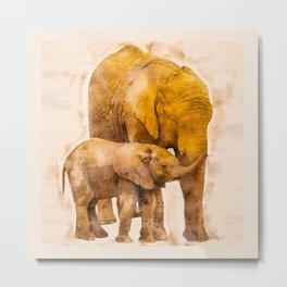 Elephant Mother and Calf Metal Print