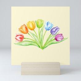 Rainbow Tulips, Flowers with Yellow Background Mini Art Print