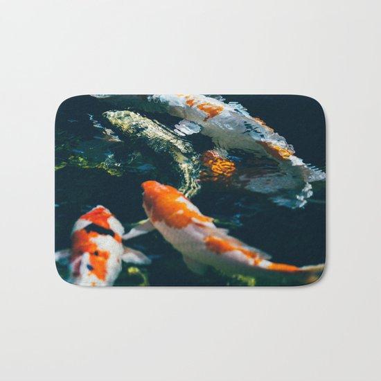 Koi Fish In Water Bath Mat
