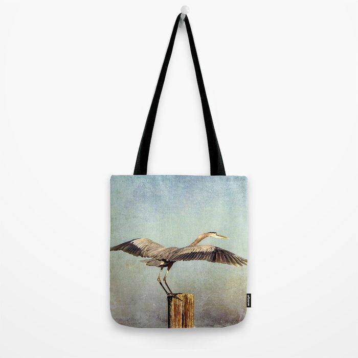 Blue Heron Landing Tote Bag